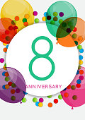 Template 8 Years Anniversary Congratulations, Greeting Card, Inv