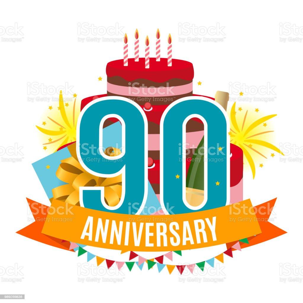 Ilustración De Plantilla 90 Años Aniversario Felicitaciones