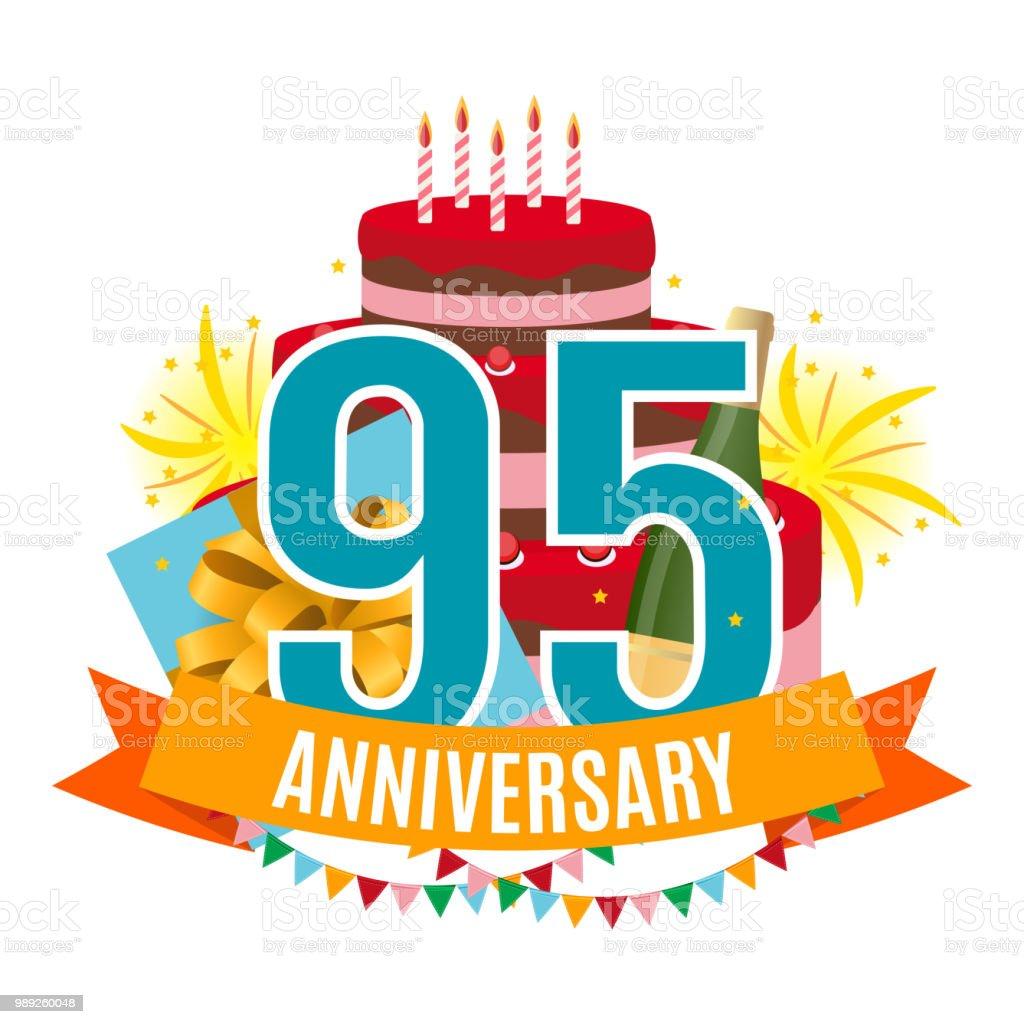 Ilustración de Plantilla De 95 Años Aniversario Felicitaciones ...