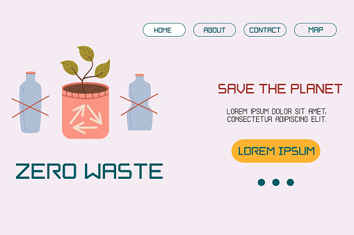A template, a landing page layout with an illustration of no plastic, a home pot with a sprout concept of sustainable development or environmental protection. Vector illustration in a flat style.