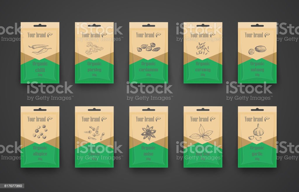 Template a set of bags with spices vector art illustration