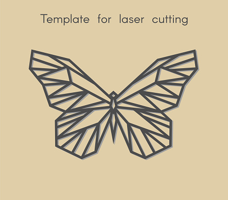 Template animal for laser cutting. Abstract geometriс butterfly for cut.