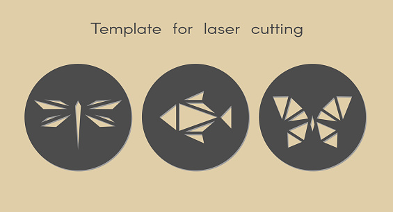 Template animal for laser cutting. Abstract geometriс dragonfly, fish, butterfly for cut.