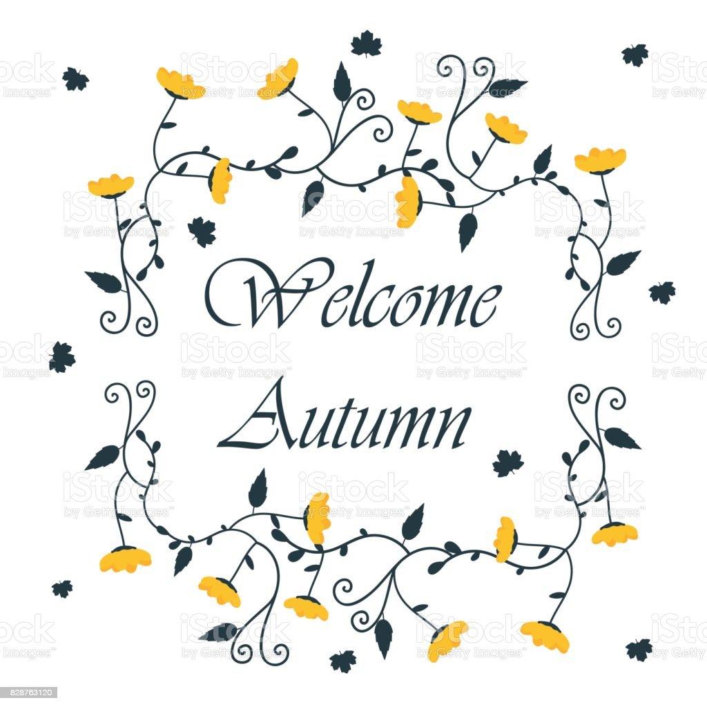 Vorlage Herbst Hintergrund Mit Blumenrahmen Stock Vektor Art und ...