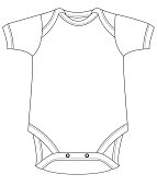 Baby grow suit in outline. Unisex.