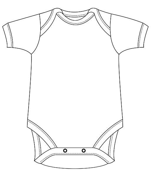 Template Baby Grow Baby grow suit in outline. Unisex. baby clothing stock illustrations