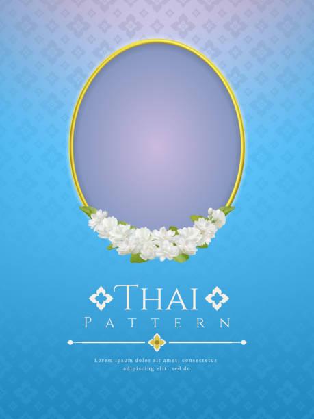 szablon tło na dzień matki tajlandia z nowoczesną linią tajski wzór tradycyjny pomysł i ramka piękny kwiat jaśminu - tajlandia stock illustrations