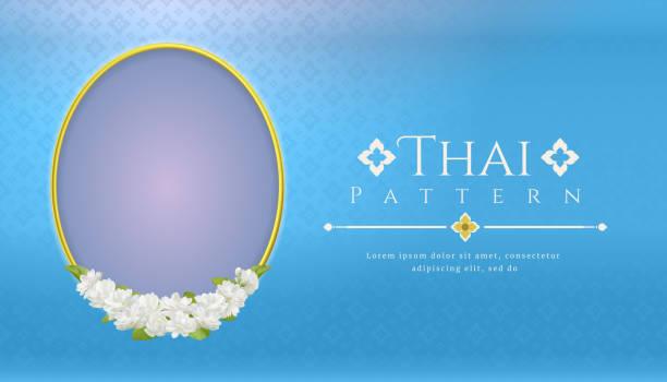 stockillustraties, clipart, cartoons en iconen met sjabloon achtergrond voor moederdag thailand met moderne lijn thais patroon traditionele concept en frame prachtige jasmijn bloem - thailand