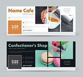 Design a banner with blocks for images for social networks.  template cover  for advertising a coffee house, a pastry shop, a bakery and so on. Photo of sample mosaic
