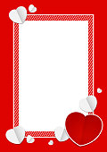 template banner frame and heart shape red color for valentines love card background and blank for copy space, red banner frame valentine with element heart shapes red and white decoration