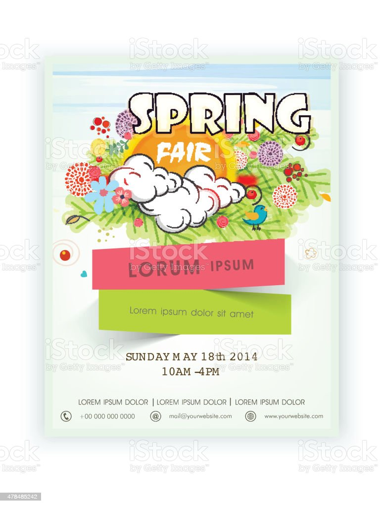Template Banner Or Flyer Design For Spring Time Stock Vector Art