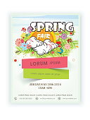 Beautiful template, banner or flyer design for Spring Fair decorated with colorful flowers.