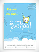 Stylish Back to School template, banner or flyer design in blue and white color.