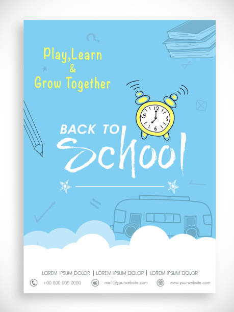 Template, banner or flyer for back to school. Stylish Back to School template, banner or flyer design in blue and white color. preschool teacher stock illustrations
