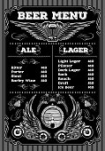 template beer menu on black background with motorcycles and wings