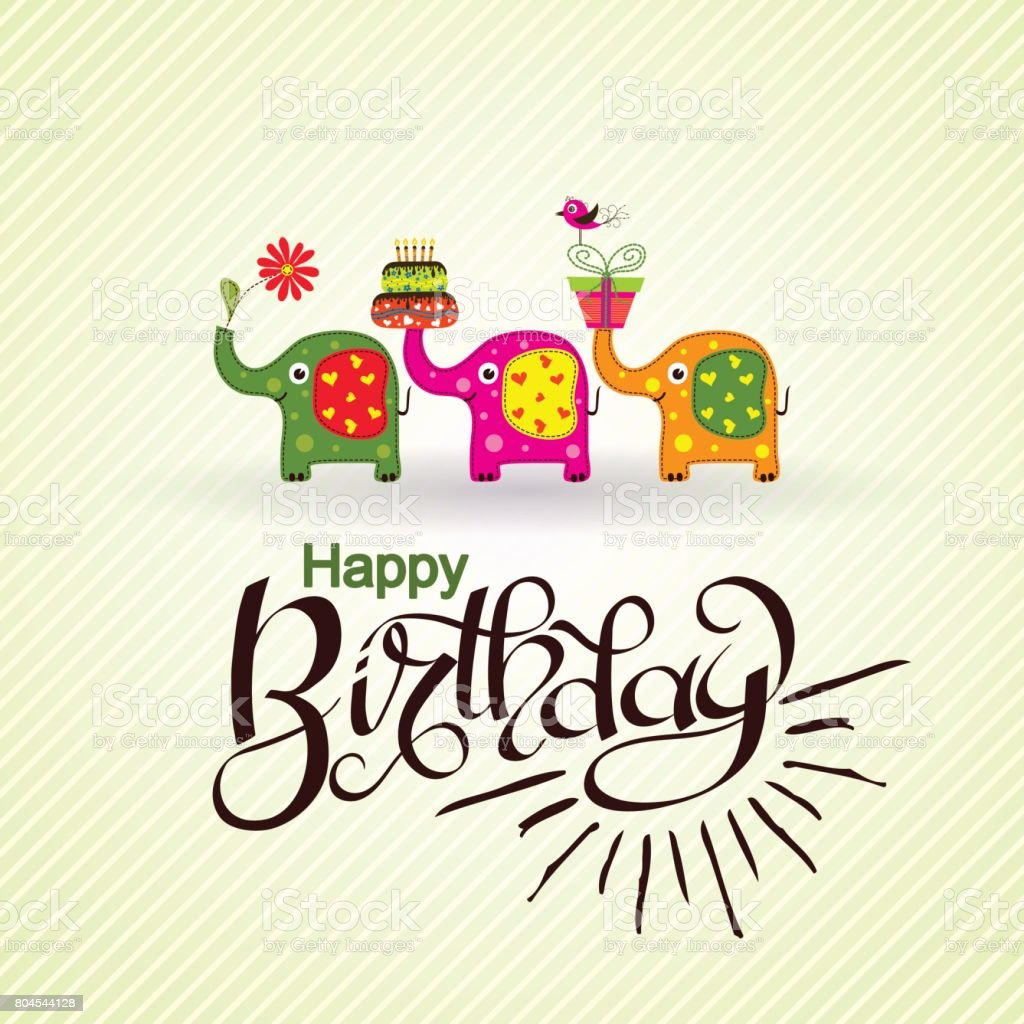 Template Birthday Greeting Card With Elephants And Text Vector Stock