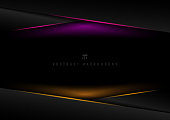 Template black geometric triangle overlapping layer header with pink, yellow lighting effect on dark background with space for your text. Technology futuristic concept. Vector illustration