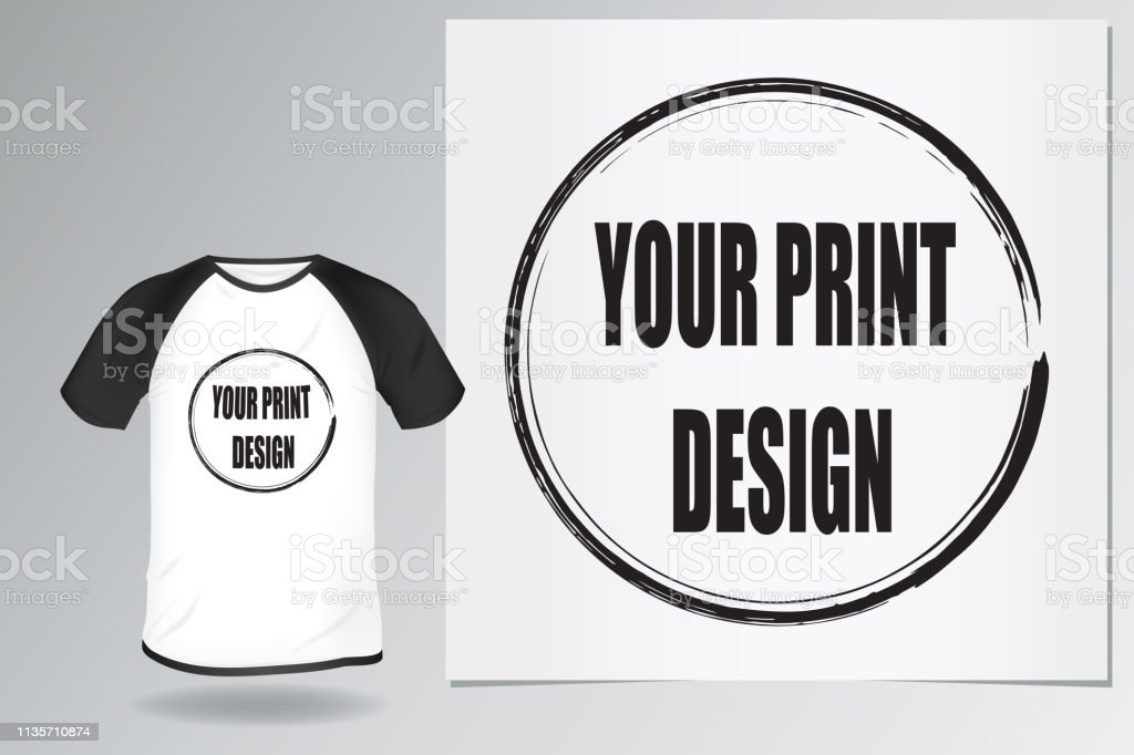 Template Blank Mens White Tshirt With Black Raglan Mockup Clothes