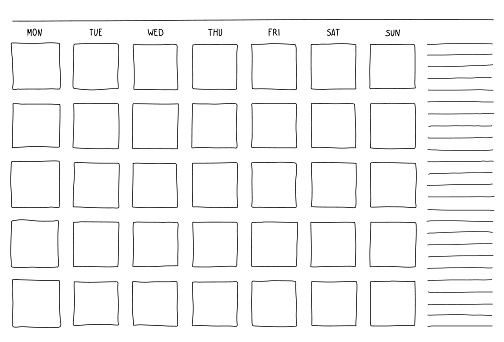 Template blank month planning with place for notes