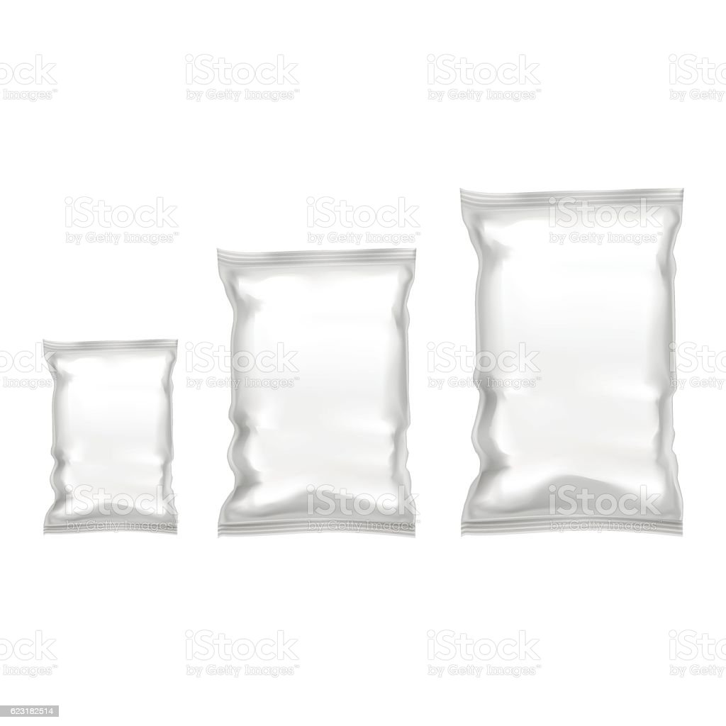 template blank realistic plastic pack with zipper vector