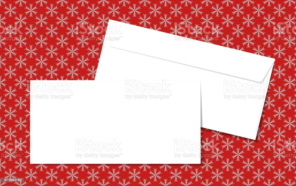 Template blank vector envelopes on Christmas background with snowflakes. Blank white envelopes on a red background. vector art illustration