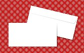Template blank vector envelopes on Christmas background with snowflakes. Blank white envelopes on a red background.