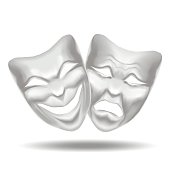 Template Blank White Mask Theatre. Vector