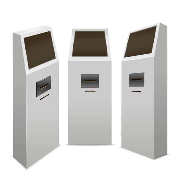 Şablon boş beyaz ödeme Terminal sahte Set izometrik görünümü kadar. Vektör vektör sanat illüstrasyonu