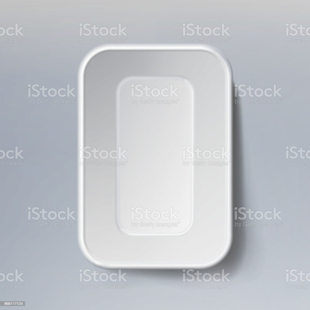 Template Blank White Plastic Food Container. Mock Up Template Ready For Your Design vector art illustration