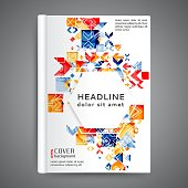 Color book design template. Annual report design with geometric elements