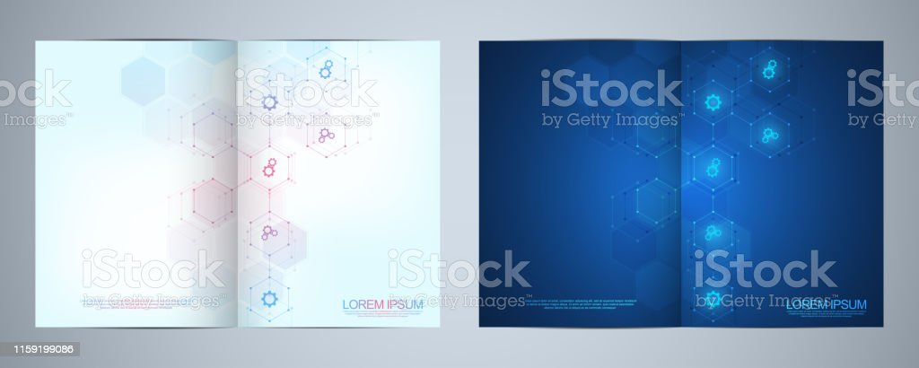 Template brochure or cover design, book, flyer, with technological...