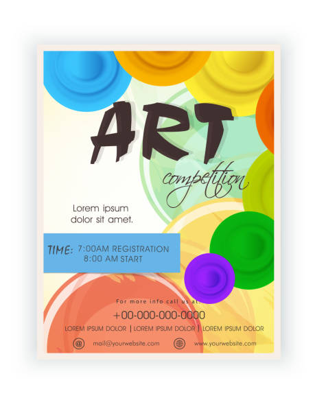 template, brochure or flyer design for art competition. - artsy backgrounds stock illustrations