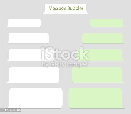 Template bubble chat, speech message.Balloon messenger screen with conversation box.Cellphone window interface with chat dialog. Talk message icon for social media. vector eps10
