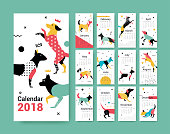 Template calendar 2017 with a dog. Dog symbol of Chinese New Year. 12 illustrations of birds with different geometric ornaments in the style of 80-90.