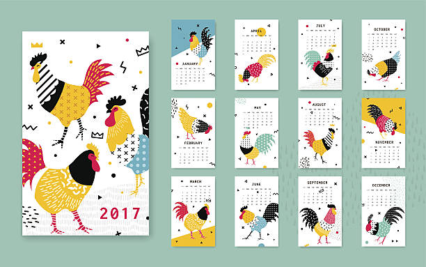 Template calendar 2017 with a rooster in style. vector art illustration