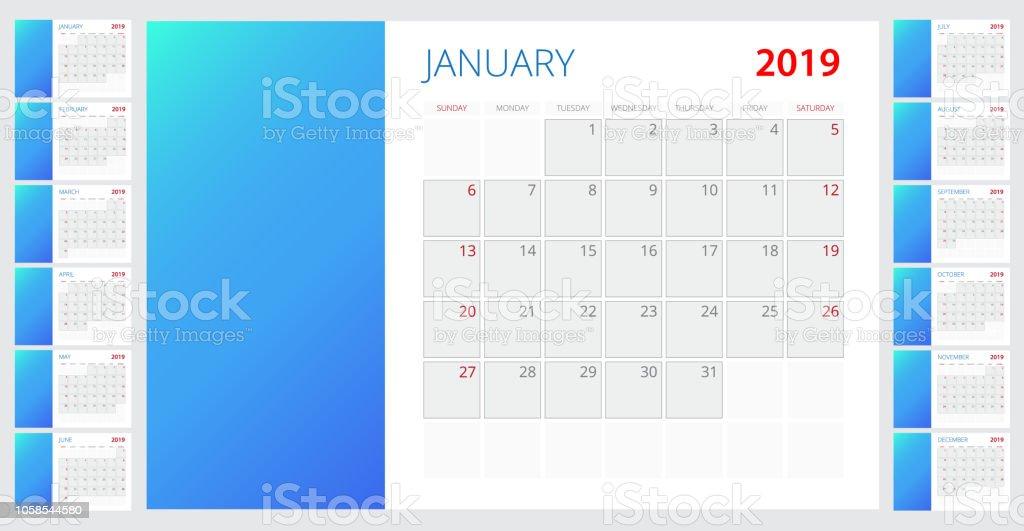 Template Calendar 2019 Week Starts On Sunday Set Of 12 Months Stock