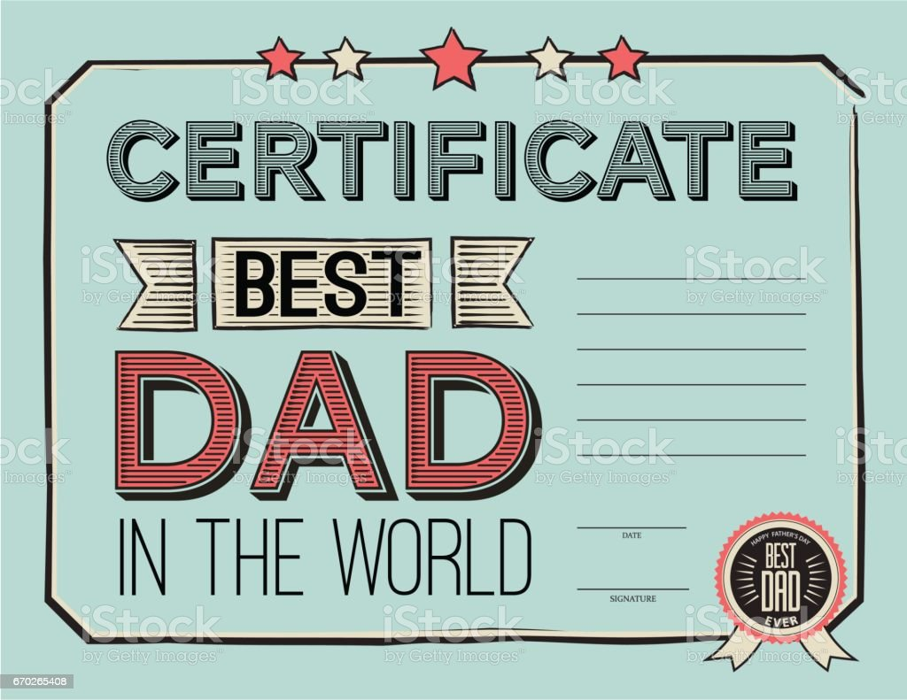 Template Certificate Congratulations For Fathers Day In Vintage ...