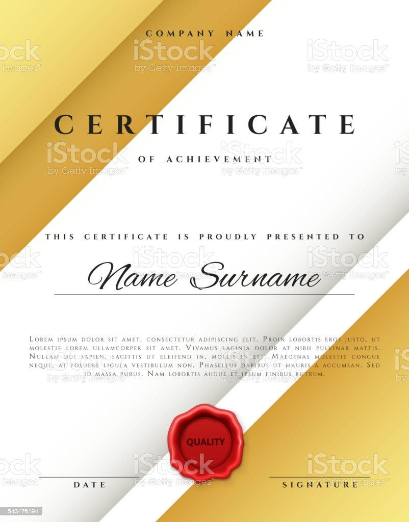 Zertifikat Vorlagedesign In Gold Farbe Stock Vektor Art und mehr ...