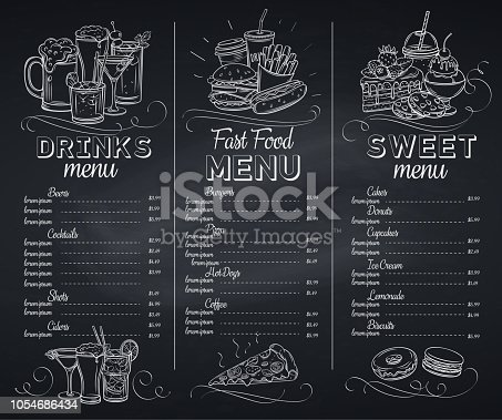 Template chalkboard menu cafe design. Banners with fast food, pastry and alcoholic. Engraving vector illustration.
