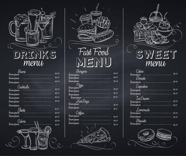 illustrazioni stock, clip art, cartoni animati e icone di tendenza di template chalkboard menu cafe - menù