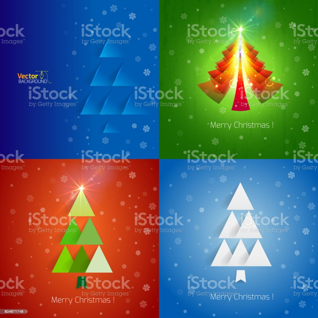 Template Christmas Greetings On The Bright Blue Background With