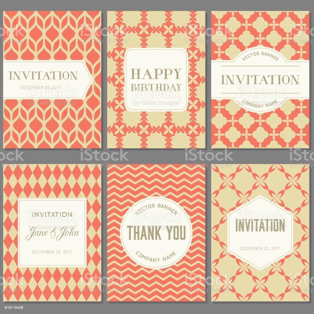 Template collection in Vintage pattern with badges vector art illustration