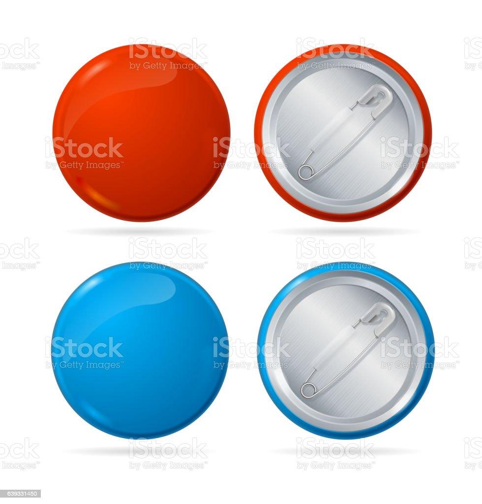 Template Color Blank Circle Button Badge Pin Set Vector Stock Vector ...