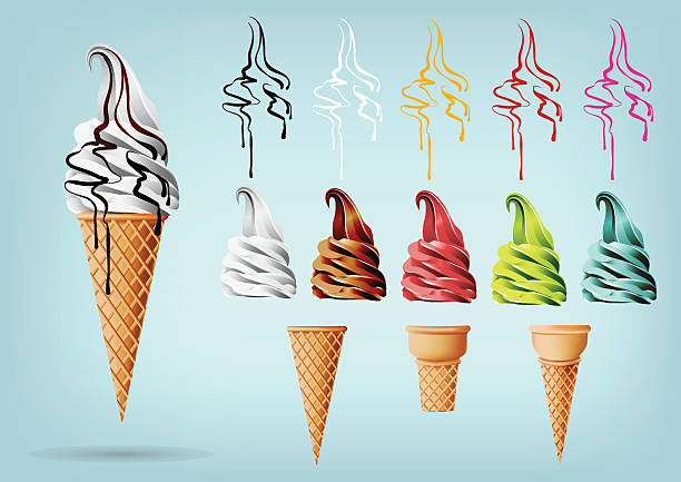 Template Colorful Ice cream in the cone, Different flavors, Vector vector art illustration