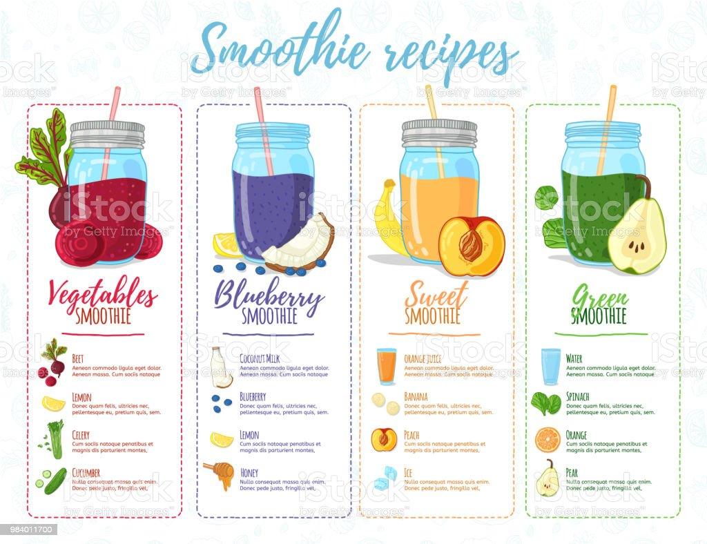 Template Design Banner Broschüre Flyer Mit Smoothie Rezepte Menü Mit
