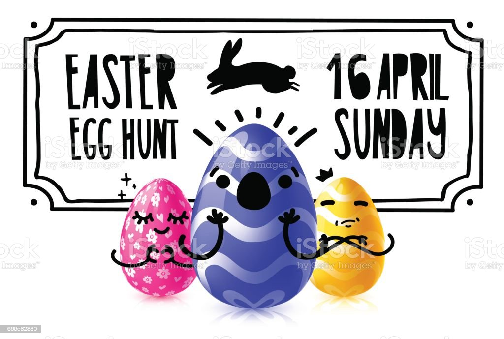 Template design banner for easter egg hunt event. Invitation for happy easter holiday with caartoon emotional character eggs. Vector. vector art illustration