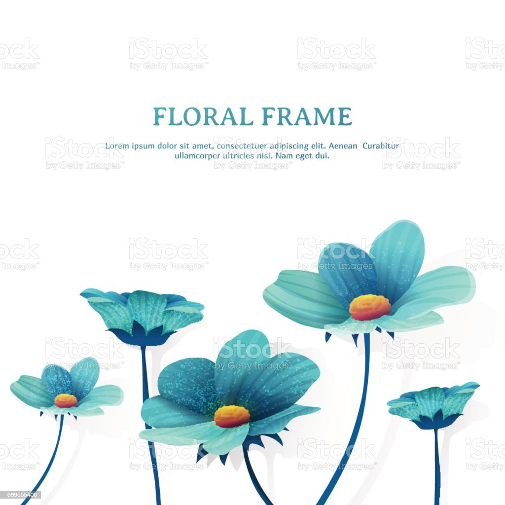 Template Design Banner With Flower Decor Place For You Text Summer