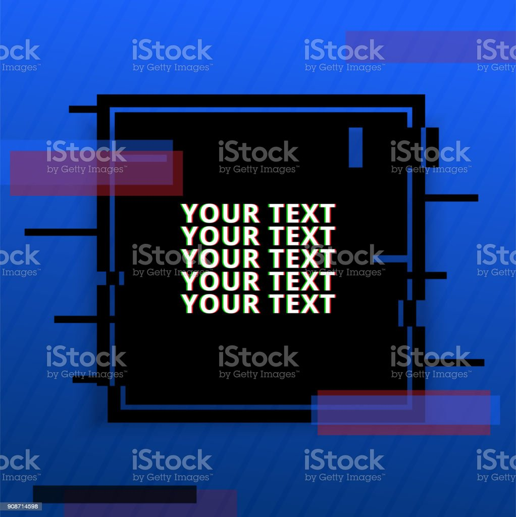 Template Design Banner With Glitch Effect Vector Distorted