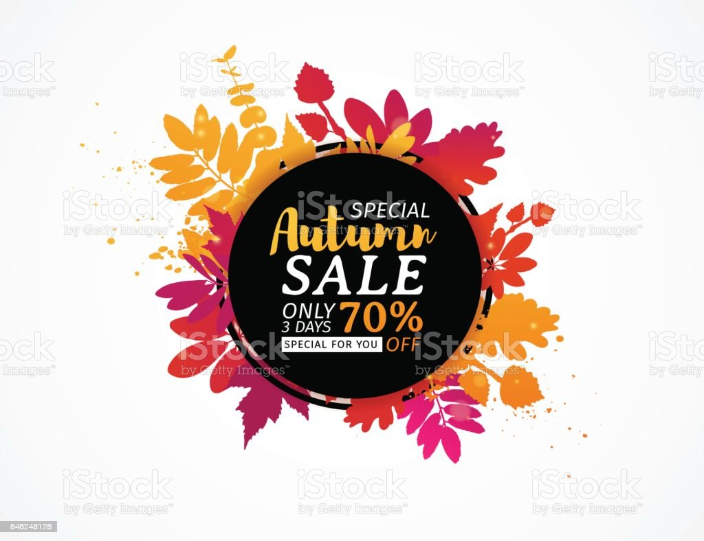 Template design black  circle autumn sale banner with decor color silhouette of plants. Sign of promotion and discounts offer of the nature of the fall season with leaves of maple. Vector. vector art illustration
