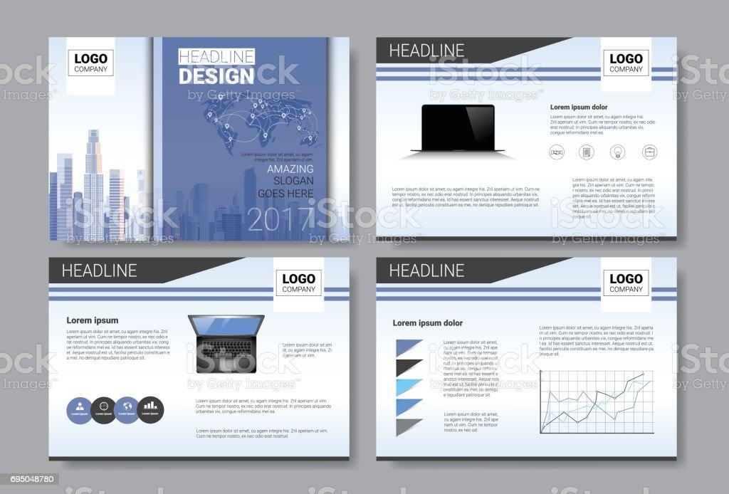 Template Design Brochure, Annual Report, Magazine, Poster, Corporate Presentation, Portfolio, Flyer Set With Copy Space